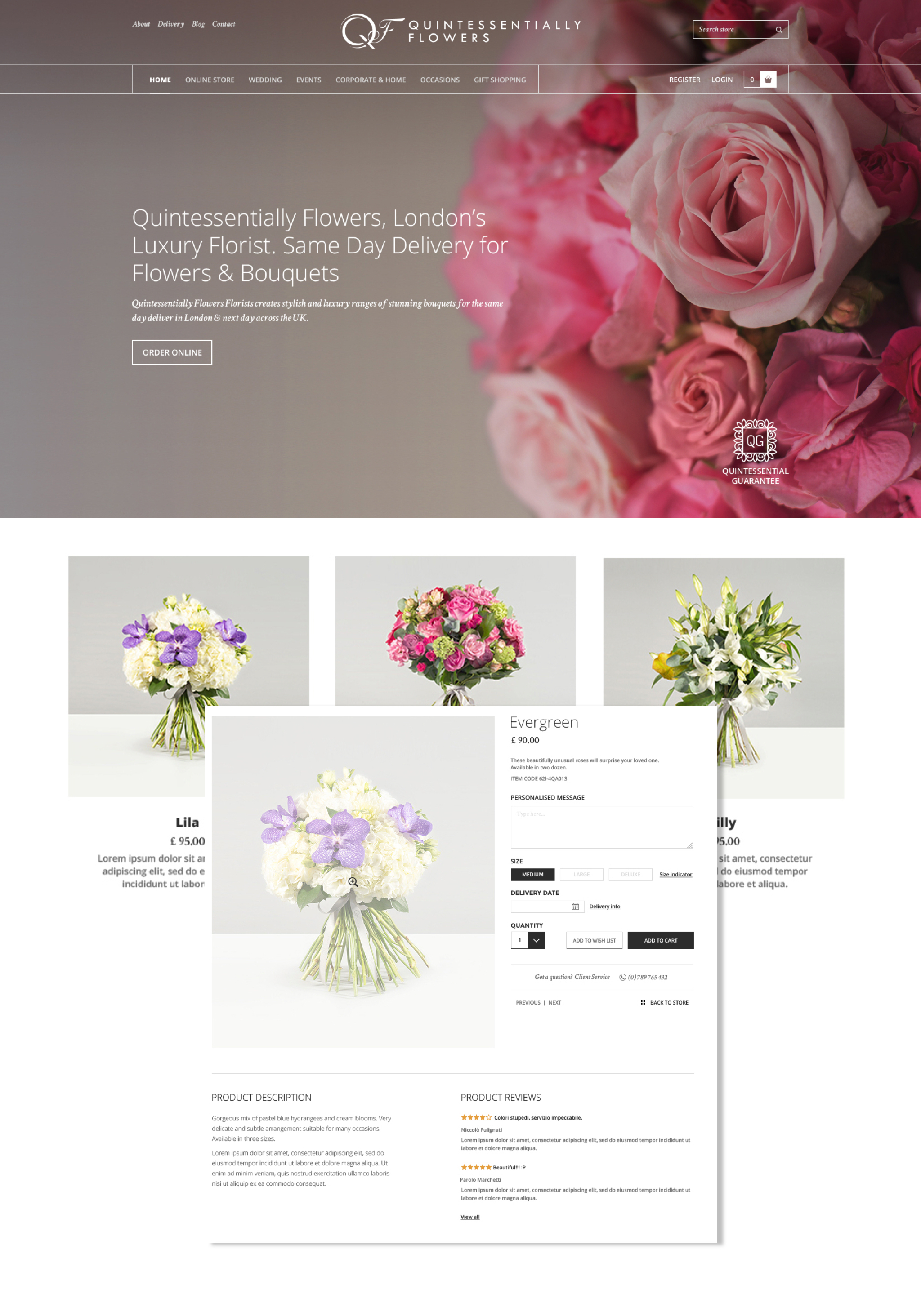 Site eCommerce Quintessentially Flowers